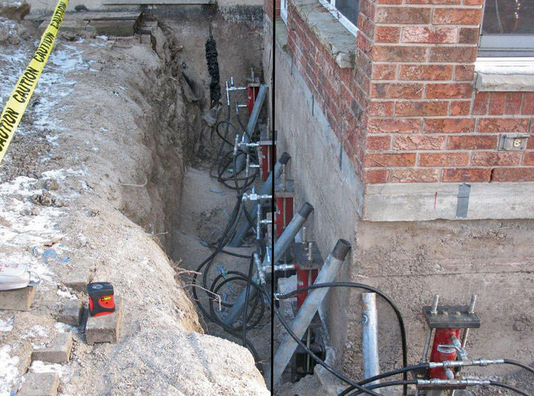 Foundation Push Piers Installed Around A House With Settlement Issues In Paradise Valley